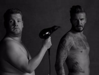 David Beckham stars in underwear spoof ad. Still looks perfect.