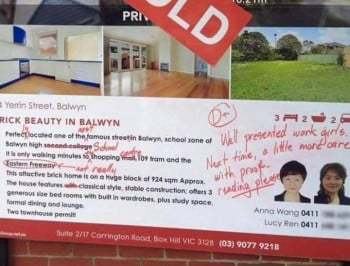 Grammar Nazi goes bezerk on Real Estate sign.