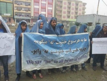 Men take to the streets of Kabul in burqas to protest gender inequality.