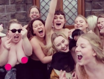 A whole country is baring their breasts to support a trolled student.