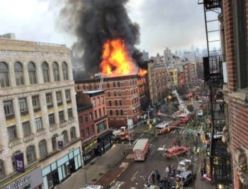 A dramatic explosion has engulfed two buildings in New York City.