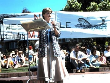 Christine speaking in Launceston, in opposition to the Wesley Vale pulp mill in 1988. This is where Christine really entered public life and what prompted her to then run for parliament. Photo supplied.