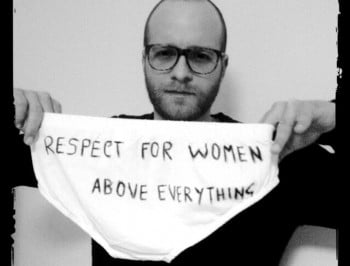 Men are holding up scribbled-on underwear for an incredibly uplifting reason.