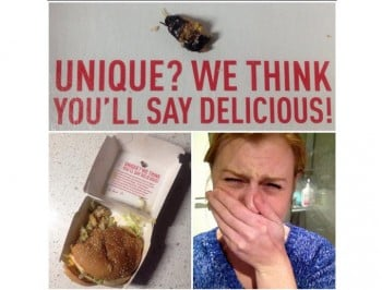 Would you like fries with that? Woman finds a cockroach in her burger.