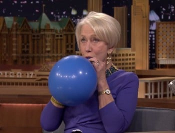 WATCH: Dame Helen Mirren on helium still sounds posher than us.