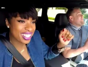 Two very famous people singing together on their morning commute. Glorious.