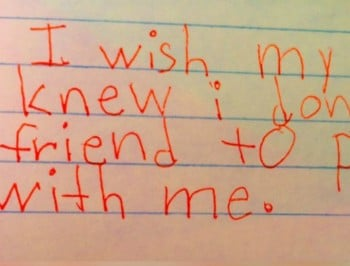 Children write beautiful notes describing what they