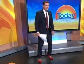 Karl Stefanovic did the Today show in heels.