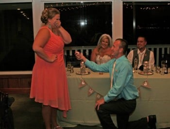 A photo of a proposal at a wedding has been labelled the