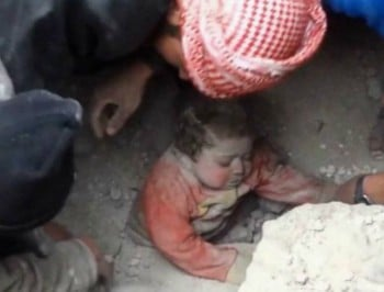 WATCH: A baby is miraculously rescued from rubble in Syria.