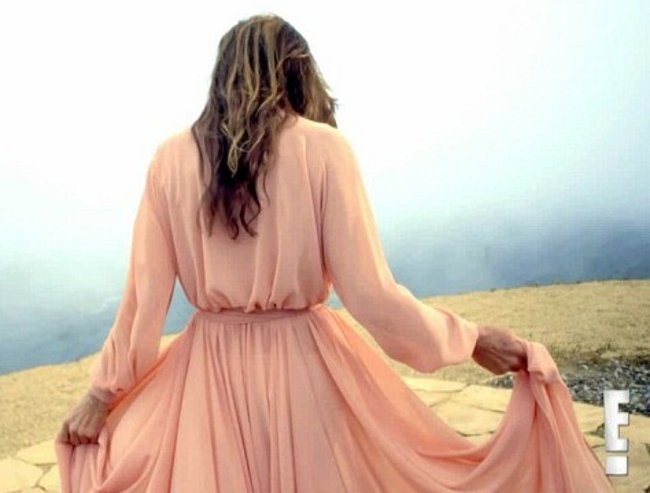 Caitlyn Jenner apricot dress behind