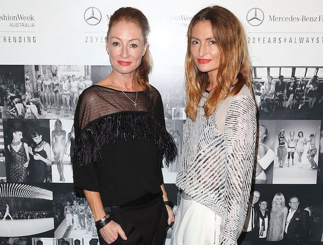 SYDNEY, AUSTRALIA - MARCH 09:  Alexandra and Genevieve Smart pose at the schedule launch of Mercedes-Benz Fashion Week Australia 2015 on March 9, 2015 in Sydney, Australia.  (Photo by Brendon Thorne/Getty Images for IMG)