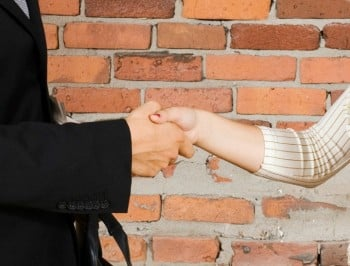 Handshake between young professionals. Concepts; job interview; business relationship; Sales pitch.