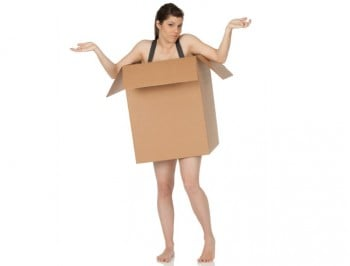 woman in box