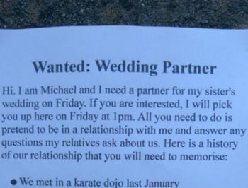 This guy really needs a date to a wedding. We can