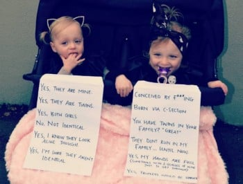 A sassy mum writes the perfect response to questions about her twins.
