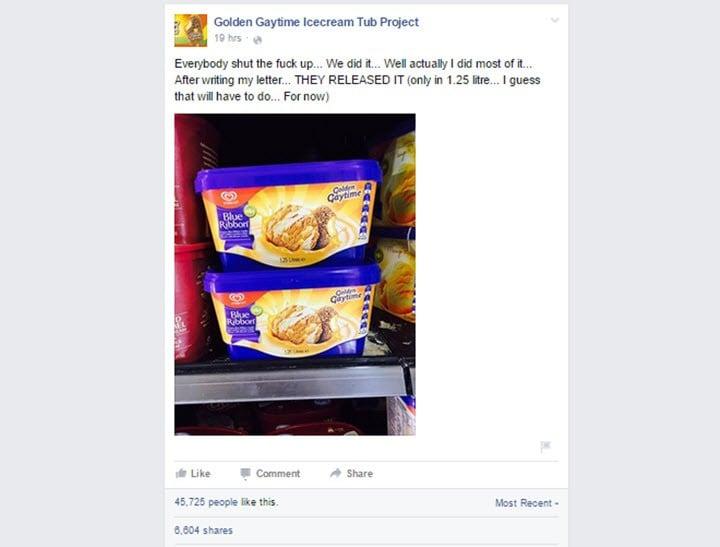 Golden Gaytime ice cream