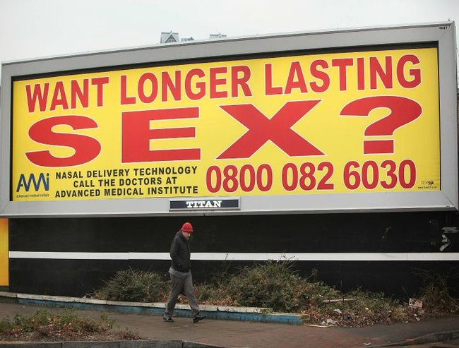 "A billboard poster advertising a nasal spray for male sexual problems is displayed on January 8, 2009 in London, England. The ASA (Advertising Standards Authority)  has asked the Advanced Medical Institute, who are promoting the spray with the phrase ""want longer lasting sex ?"", to remove the adverts. They have refused, even though the ASA has received 400 complaints from the public."