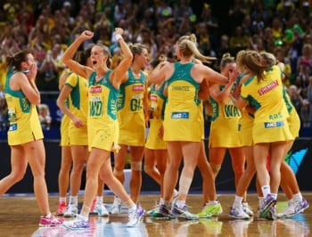 during the 2015 Netball World Cup Gold Medal match between Australia and New Zealand at Allphones Arena on August 16, 2015 in Sydney, Australia.