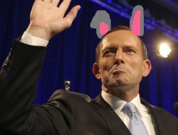 Some genius just gave the PM bunny ears.