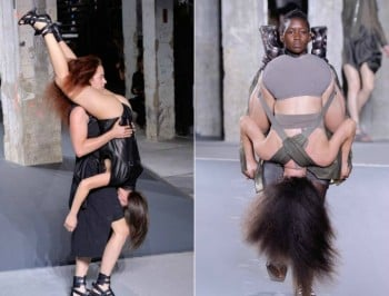 Designer sends models down runway wearing human backpacks. But, er...