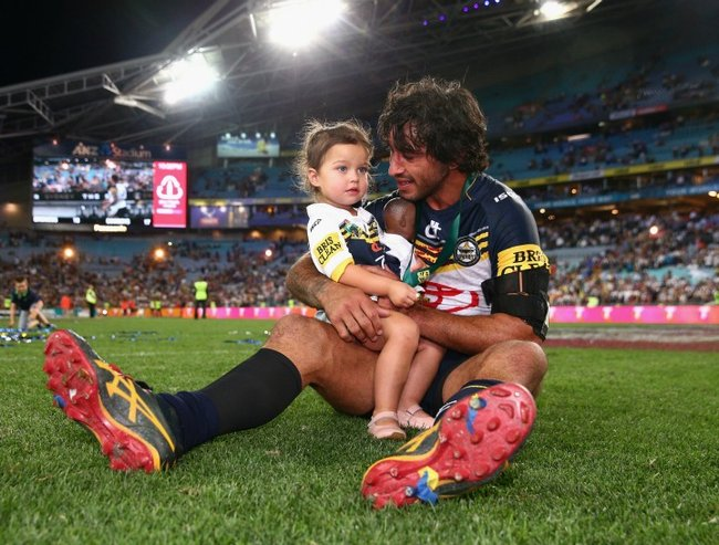during the 2015 NRL Grand Final match between the Brisbane Broncos and the North Queensland Cowboys at ANZ Stadium on October 4, 2015 in Sydney, Australia.