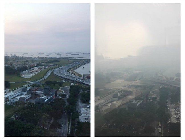 The view from Rebecca's home in Singapore before and after the forest fire haze. Source: Supplied.