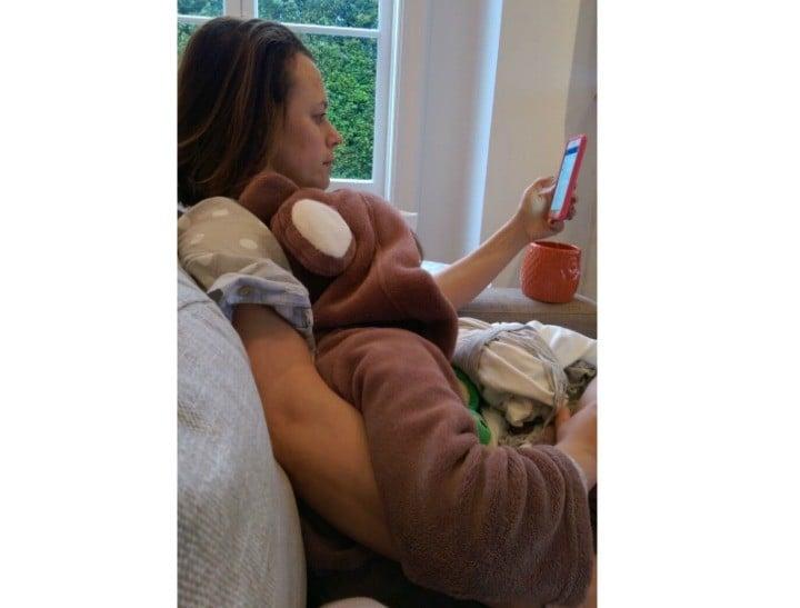 Mia on her phone