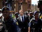 PRETORIA, SOUTH AFRICA - OCTOBER 17: Oscar Pistorius leaves the North Gauteng High Court on October 17, 2014 after the fifth day of sentencing, having been found guilty of the culpable homicide of his girlfriend Reeva Steenkamp in Pretoria, South Africa.  Pistorius killed Steenkamp after mistaking her for an intruder.  (Photo by Charlie Shoemaker/Getty Images)