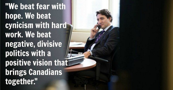 Justin Trudeau Facebook pic quote