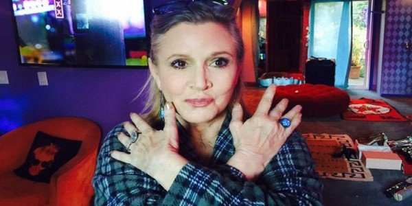 Facie Carrie Fisher on Twitter asking about rings