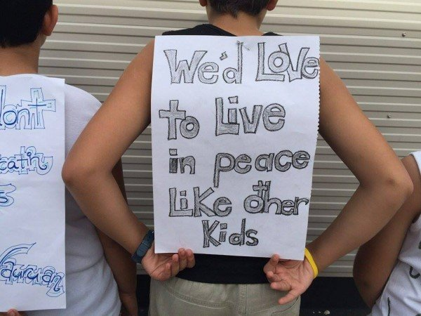 Refugee children protest on Nauru.