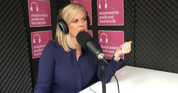 Samantha Armytage in podcast studio FB