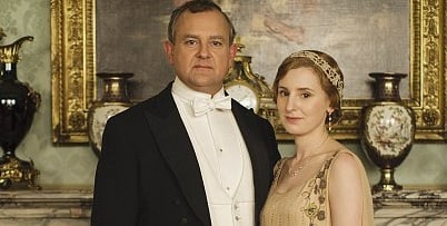 The time-travelling blooper spoiling this Downton promo pic.
