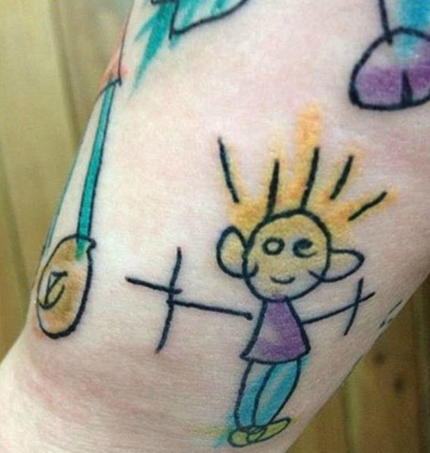 Parents get their kids 39 drawings tattooed on their bodies for Tattoo for kid