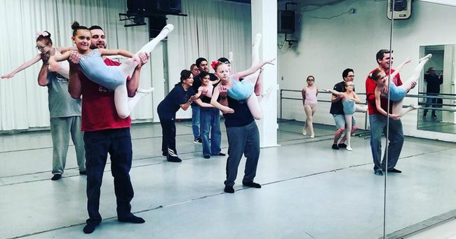 A bunch of dads took a ballet class with their kids. Now they've gone viral.