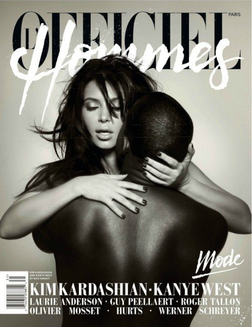 Kim and Kanye on the cover of Hommes Magazine