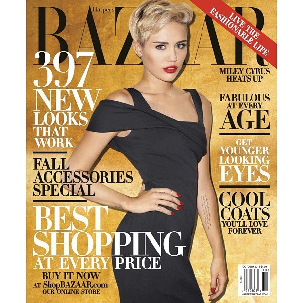 Miley Cyrus on the October cover of Harpers Bazaar US
