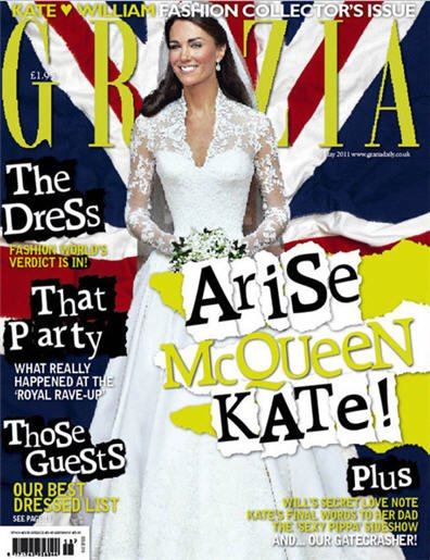 On this cover of Grazia, Kate Middleton's waist is the focus...