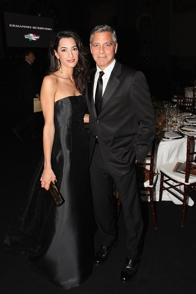 Amal wore a strapless black Dolce & Gabbana gown to the event