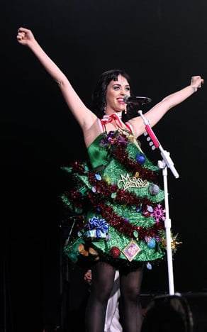 Performing at Q102's Jingle Ball concert in New Jersey.