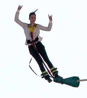 Katy bungy-jumping in New Zealand