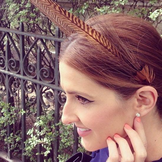 Kate Waterhouse wearing a Nerida Winter headpiece