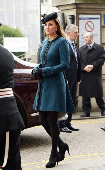 The Duchess a blue Malene Birger coat at the unveiling of a new subway at London's Baker Street Underground.