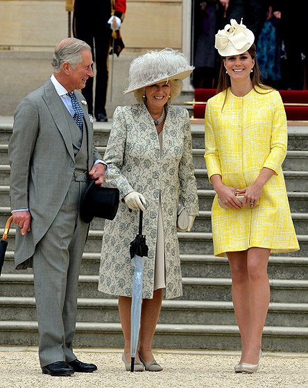 Charles, Camilla and Kate at Queen Elizabeth II's annual summer garden party on May 22 in a lemon-yellow Emilia Wickstead coat dress.