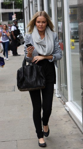 Lara Bingle in scarf, jacket and jeans