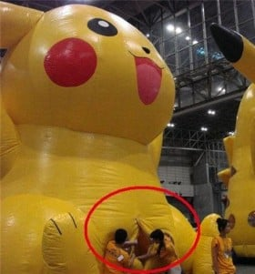 The entrance to a blow up Pikachu from Buzzfeed.com