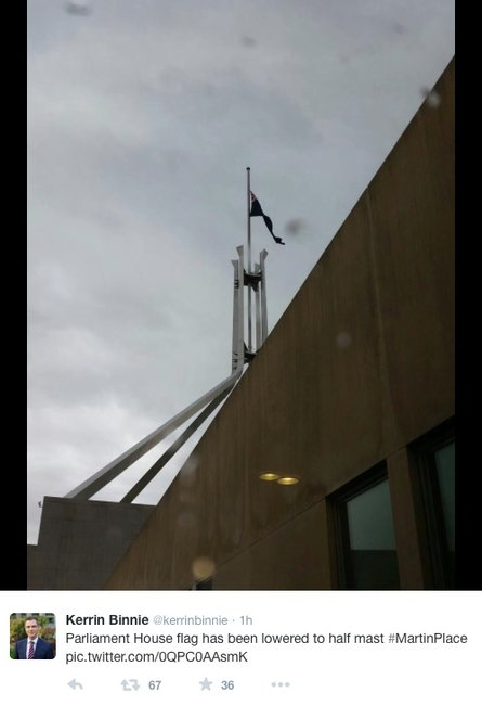 Flag flying at half mast at Parliament House. Photo via @kerrninbinnie.