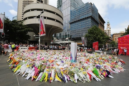 Floral tributes at Martin Place