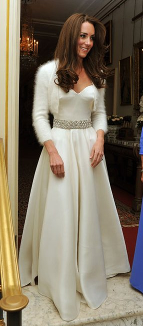 Kate changed into another Sarah Burton for Alexander McQueen design for the evening festivities at Buckingham palace